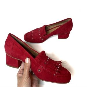 FRANCO SARTO RED SUEDE LOAFERS BLOCK HEEL SIZE 6.5